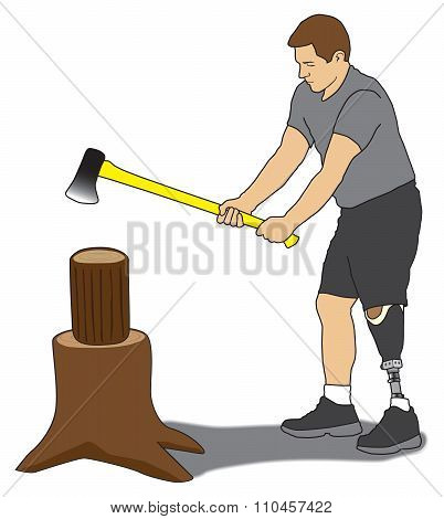 Amputee Splitting Wood