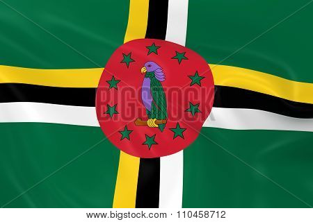 Waving Flag Of Dominica - 3D Render Of The Dominican Flag With Silky Texture