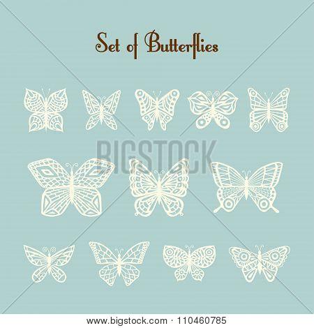 Set of vector of silhouette of butterflies. Twelve beige butterflies on a light mint background.