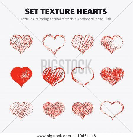 Set of vector texture hearts. Twelve hearts drawn in pencil ink chalk on cardboard.