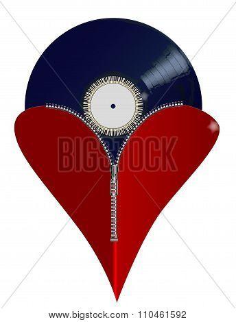 Love Music Zipper Heart