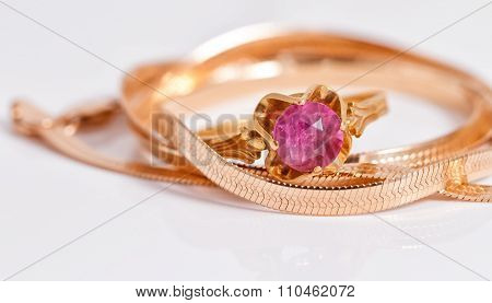 Gold Chain And Gold Ring With Ruby