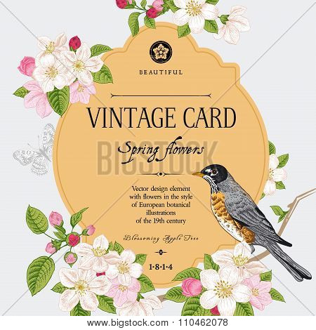 Spring elegant vector vintage card with blossoming apple tree branch and bird.