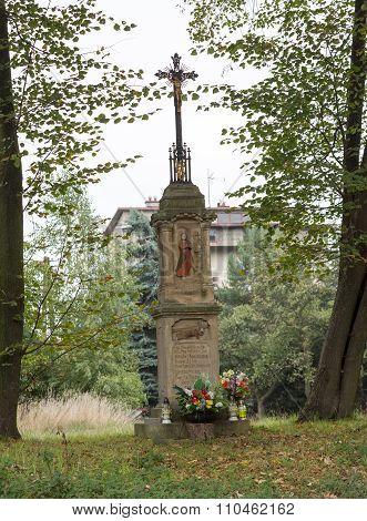 SKAWINA, POLAND - SEPTEMBER 29, 2015: Old Wayside shrine in Skawina near Cracow. Poland