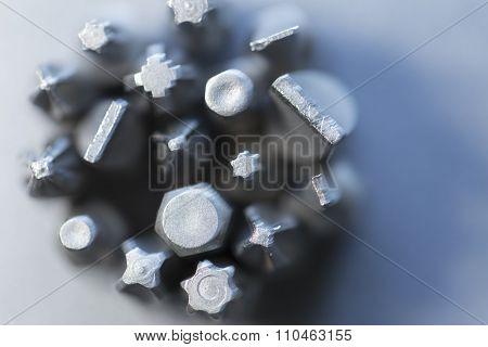 Tool bits close up