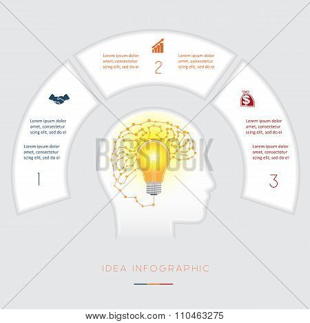 Conceptual Idea Infographics Template Three Positions