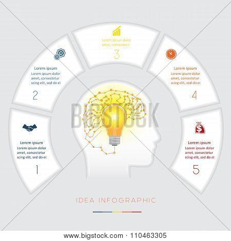 Conceptual Idea Infographics Template Five Positions