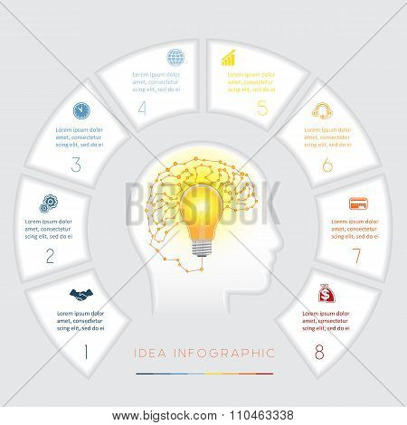 Conceptual Idea Infographics Template Eight Positions