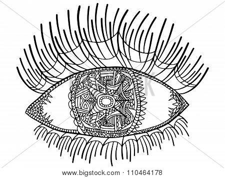 Zentangle Eye Long Eyelashes 1