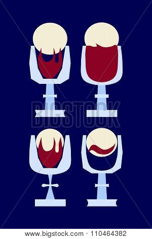 Four stylized simple cups with wine and wafer