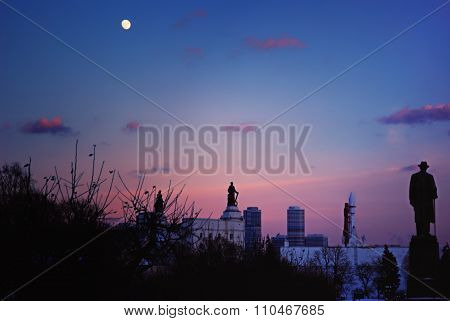 Full Moon on Winter Evening over VDNKh in Moscow
