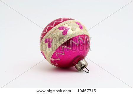 Antique Christmas pink and white ornament