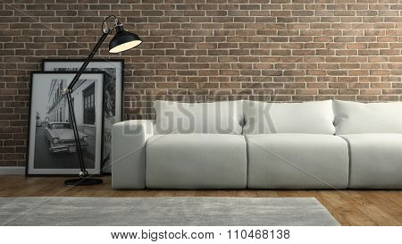 Part of  interior with brick wall and white sofa 3D rendering