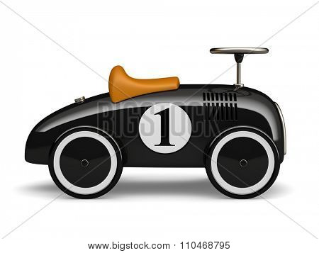Black retro toy car number one isolated on white background