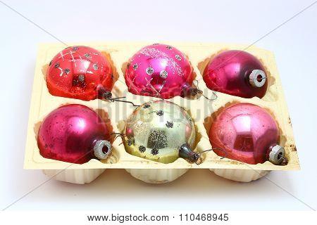 Antique Christmas set pink assorted