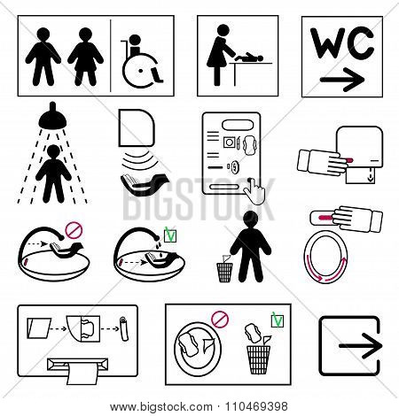 Set Of Toilet And Bathroom Signs  For Public Places
