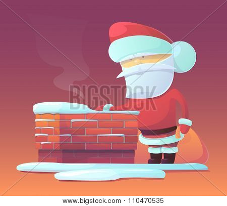 Vector illustration of Santa Claus near chimney with gifts
