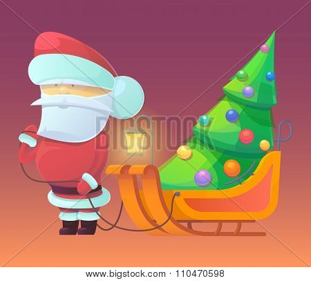 Vector illustration of Santa Claus with firtree on sleighs.