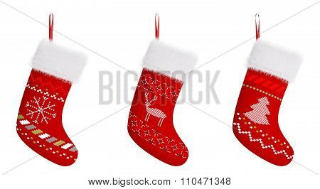 Red Christmas Stockings Isolated 3D Rendering