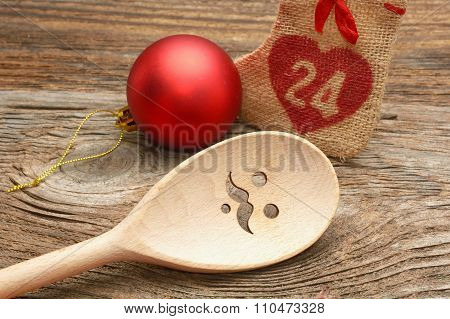 Wooden Spoon and Chrismas decorations