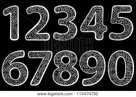 Zentangle Numbers Doodle Black White 1