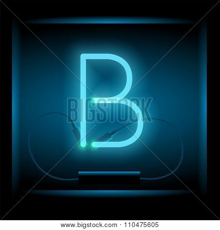 Realistic Neon Letter B Vector Illustration. Glowing Font.