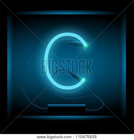 Realistic Neon Letter C Vector Illustration. Glowing Font.