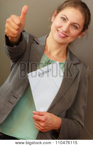 Business Woman Holding Contract