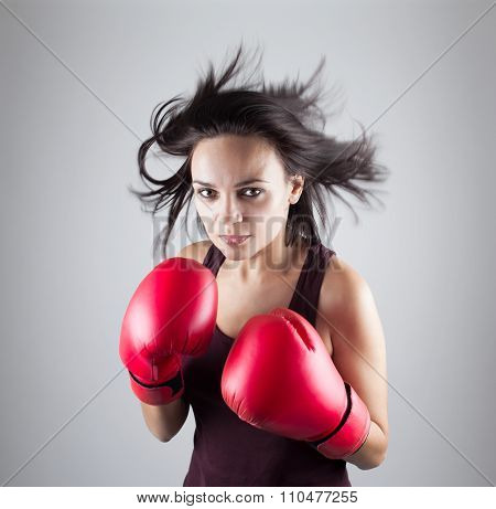 Sexy Girl Woman Athlet In Red Boxing Gloves Kicking