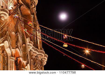 Facade Night Moon Parroquia Christmas Archangel Church San Miguel Mexico