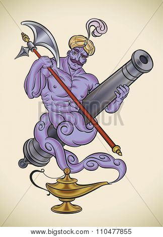 Cartoon character of a genie leaving his lantern, holding a cannon barrel and an poleaxe. Raster image.