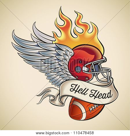 American football tattoo design of a flaming helmet with wings and a leather ball wrapped with banner. Raster image.