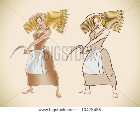 Retro styled image of a peasant woman with a sickle in her hand. Raster image.