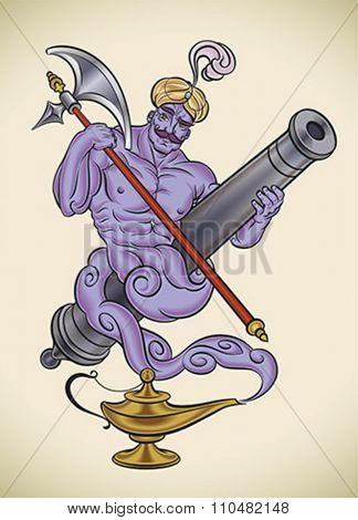 Cartoon character of a genie leaving his lantern, holding a cannon barrel and an poleaxe. Editable vector illustration.