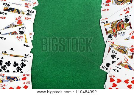 Cards Isolated On Green Background