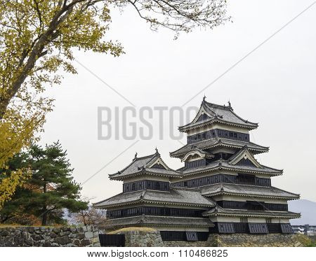 Masumoto Castle , Black Palace For War In Autumn At Nagano Province In  Japan