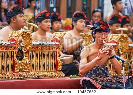 Old Man Play Ethnic Balinese Music On Bamboo Flute