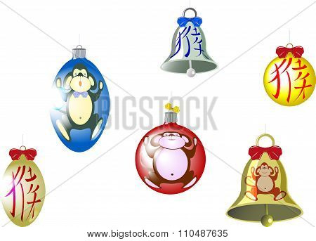 Set of Christmas tree balls and a bell with a monkey and hieroglyph. Translation of hieroglyph - mon