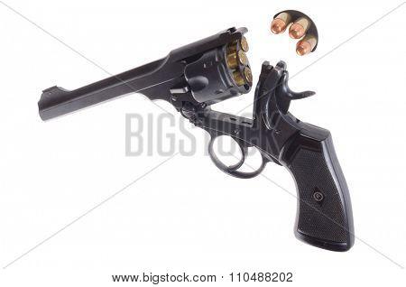 1916 vintage British break action revolver isolated on white