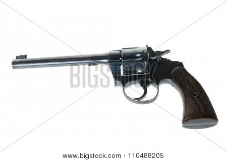 AntiqueTarget revolver in .22 caliber isolated on white