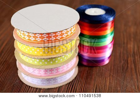 Spools of color ribbon, close-up
