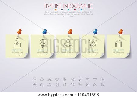 Paper Timeline Infographics With Icons Set.