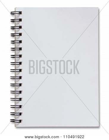 Blank White Spiral Notebook Isolated On White With Clipping Path