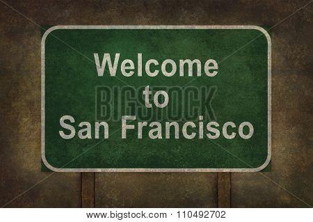 Welcome To San Francisco Roadside Sign Illustration