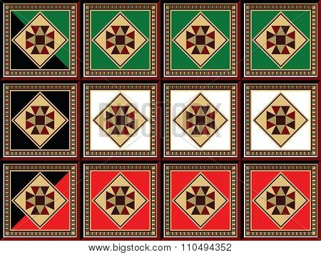 Stylized Kuwait Flag Crafted Form Ornamental Arabian Wooden Mosaic Square Tiles