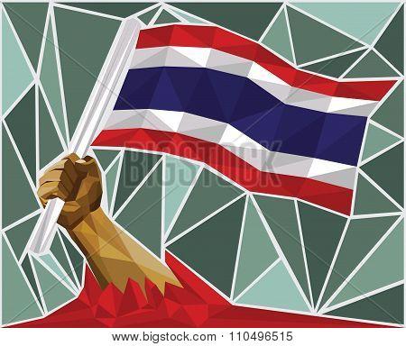 Powerful Hand Raising The Flag Of Thailand