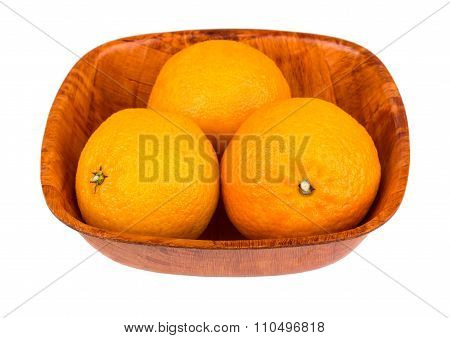 Three Tangerine In Bamboo Bowl On White