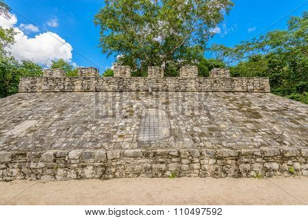 Fragment of Mayan Pyramid in Coba. Mexico.
