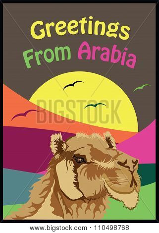 Vintage Style Colorful Greetings From Arabia Poster