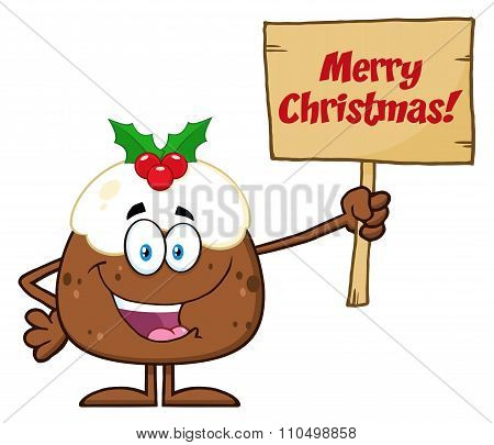 Christmas Pudding Character Holding Up A Wood Sign With Text